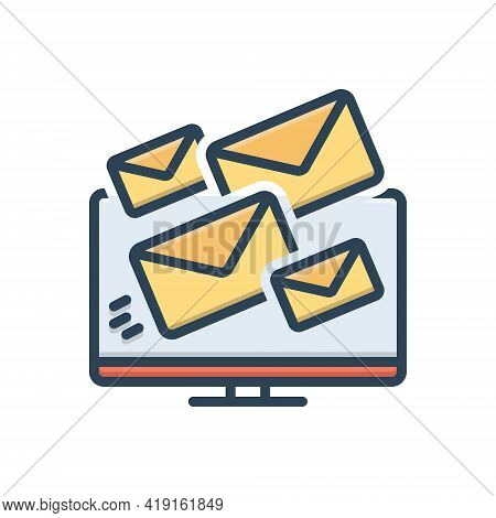 Color Illustration Icon For Deliverability Email Message Share Technology