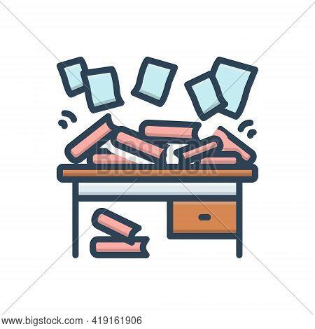 Color Illustration Icon For Disorganize Haphazard Scrappy Disorganized Disorderly Straggling