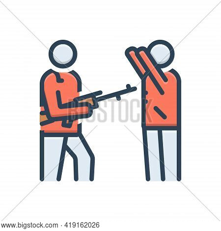 Color Illustration Icon For Disarmed Defence Attack Handgun  Pistol People