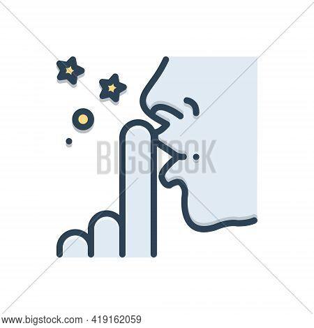 Color Illustration Icon For Discretion Prudence Silent Secret Mute Finger Voiceless Finger-on-lip