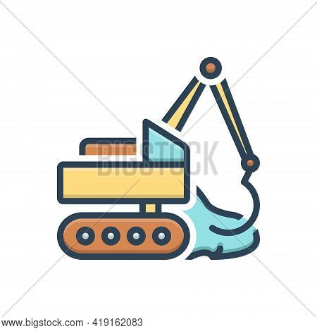 Color Illustration Icon For Earthmoving  Excavator Digger Machine Development Vehicle