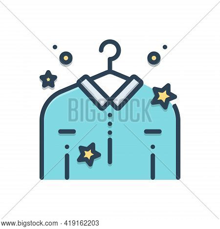 Color Illustration Icon For Dry-cleaning Cloth Clean Dry Cleaning Laundry  Garment