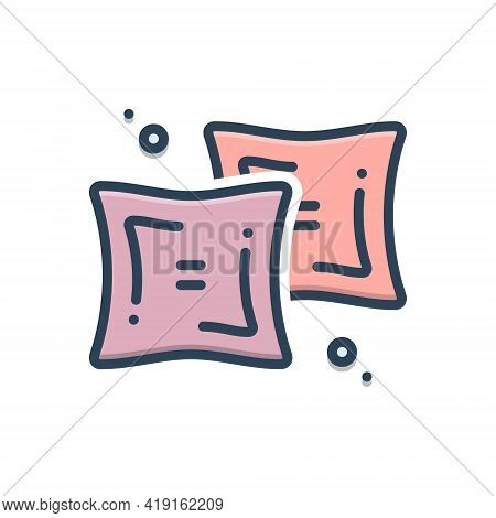 Color Illustration Icon For Duvet  Comforter Pillow Sleeping Relaxation Square