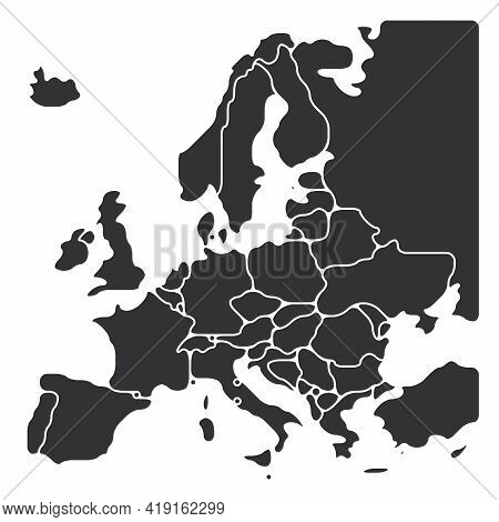Simplified Map Of Europe. Rounded Shapes Of States With Smoothed Border. Grey Simple Flat Blank Vect