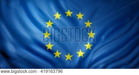 3d Rendering Of An Eec Flag Waving