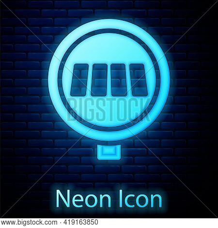 Glowing Neon Pedestrian Crosswalk Icon Isolated On Brick Wall Background. Traffic Rules And Safe Dri