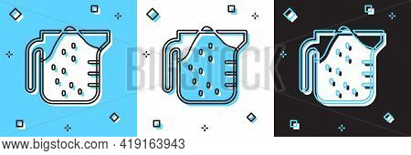 Set Measuring Cup To Measure Dry And Liquid Food Icon Isolated On Blue And White, Black Background.