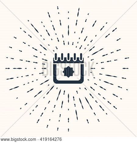 Grey Ramadan Calendar Icon Isolated On Beige Background. Ramadan Kareem And Islamic Symbols. Abstrac