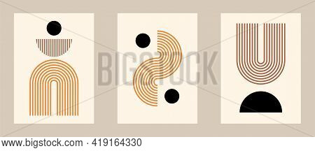 Vector Set. Contemporary  Compositions With Geometric Figures. Abstract Posters.  Boho Wall Decor. M