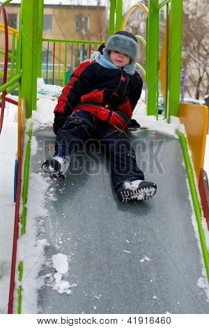 Child On Walk In Winter