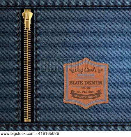 Blue Denim Cloth With Zip And Label Background Realistic Vector Illustration