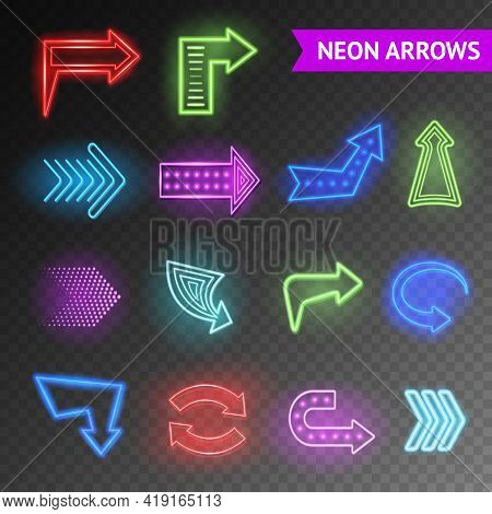Bright Neon Realistic Arrows Set On Transparent Background Isolated Vector Illustration