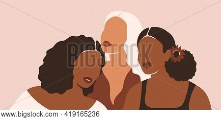 Poster Of Summer Women With Different Ethnicities And Cultures Stand Side By Side Together. Females