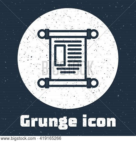Grunge Line Decree, Paper, Parchment, Scroll Icon Icon Isolated On Grey Background. Chinese Scroll.