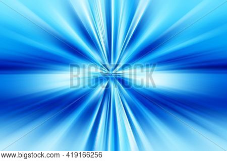 Abstract Radial Zoom Blur Surface Of   Blue And White Tones. Abstract Bright Blue   Background With