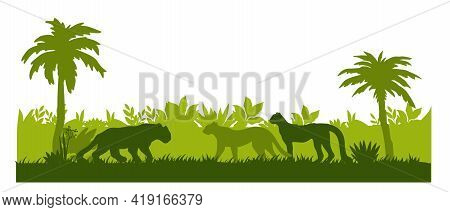 Jungle Forest Silhouette Background, Palm Trees Outline, Leopard, Jaguar, Lush Foliage, Bushes, Gras