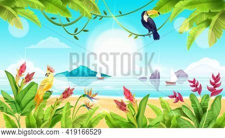 Summer Beach Landscape, Tropical Exotic Birds, Ocean, Paradise Flowers, Toucan, Parrot, Banana Leave