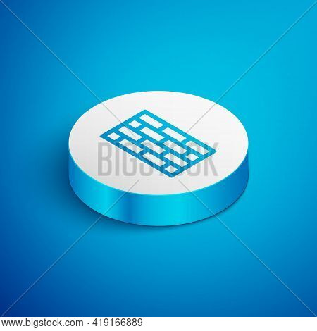 Isometric Line Firewall, Security Wall Icon Isolated On Blue Background. White Circle Button. Vector