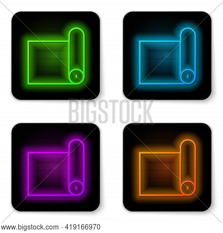 Glowing Neon Line Fitness Mat Roll Icon Isolated On White Background. Yoga Mat Rolled. Sport Equipme