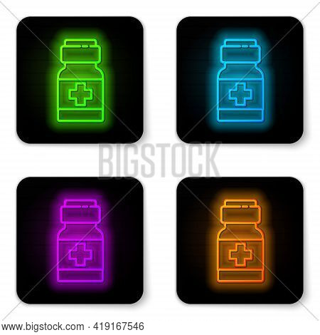 Glowing Neon Line Medicine Bottle And Pills Icon Isolated On White Background. Medical Drug Package
