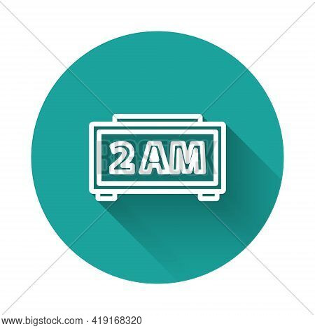 White Line Digital Alarm Clock Icon Isolated With Long Shadow. Electronic Watch Alarm Clock. Time Ic