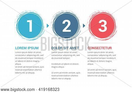 Infographic Template With Numbers In Circles And Text, Three Steps Or Options, Process Chart, Vector