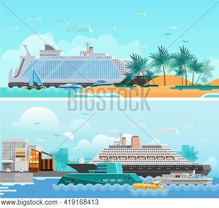 Cruise Vacation Flat Horizontal Banners Set With Passenger Liners South Beach Modern Hotels And Sail