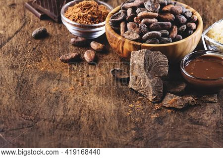Various Cocoa Products Set: Beans, Powder, Butter, Dark Chocolate, Grated Cocoa On Wooden Table Back