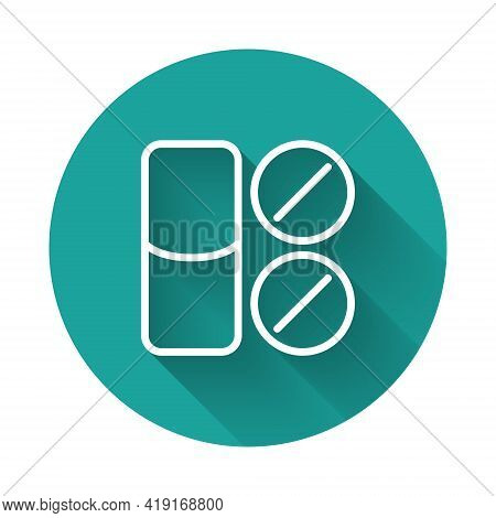 White Line Toothache Painkiller Tablet Icon Isolated With Long Shadow. Tooth Care Medicine. Capsule