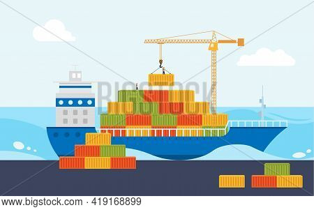 Industrial Sea Port Cargo Logistics Container. Crane Loads Cargo On To Cargo Barge.