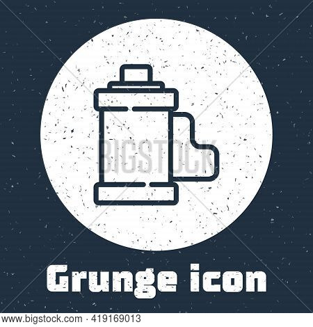 Grunge Line Camera Vintage Film Roll Cartridge Icon Isolated On Grey Background. 35mm Film Canister.