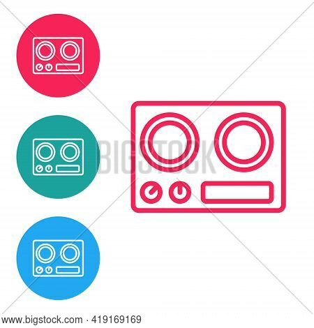 Red Line Gas Stove Icon Isolated On White Background. Cooktop Sign. Hob With Four Circle Burners. Se