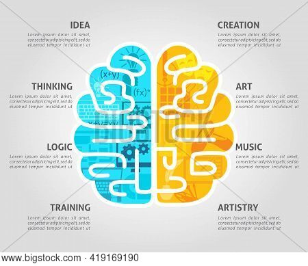 Brain Function Concept With Left Intellectual And Right Emotional Hemispheres Flat Vector Illustrati