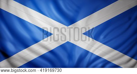 3d Rendering Of A National Scotland Flag