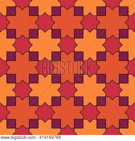 Seamless Pattern. Moroccan Stars And Crosses Tiles Ornament. Oriental Traditional Ornamentation. Rep