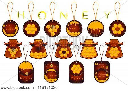Illustration On Theme For Big Set Label Of Sugary Flowing Down Honey In Honeycomb With Bee. Label Pa