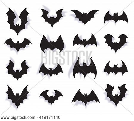 Paper Bats. Halloween Symbol Of Creepy Flying Animal With Wings. 3d Vampire Party Decoration. Scary