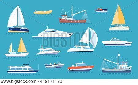 Yachts And Sailboats. Small Sea Transport, Motorboat And Fishing Ship. Flat Marine Regatta Boat, Oce