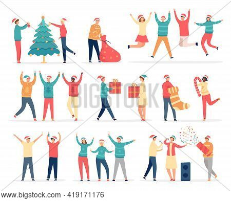People Celebrate Merry Christmas. Friends And Family At New Year Party Dance, Sing, Drink, Decorate
