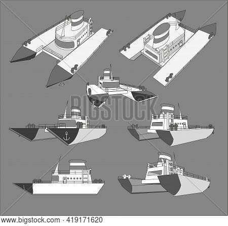 Set , Collection With Cruise Catamaran 3D Models Good For Travel And Tourism Ads, Books, Good For Tr