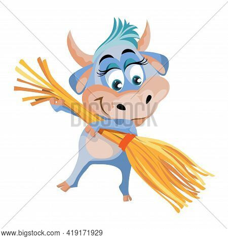Cute Character Bull Or Cow The Cow Is Cleaning, Sweeping The Floor With A Broom Flat Cartoon Animal