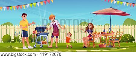 Bbq People Party On Garden Backyard, Happy Family Cooking Food Outdoors In Garden With Fence. Mother