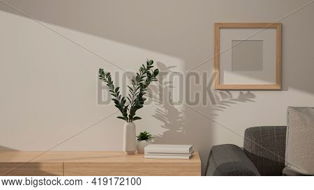 3D Rendering, Home Interior Design, Living Room With Sofa, Wooden Desk And Decorations