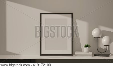 3D Rendering, Home Interior Design With Mock Up Frame, Lamp, Books And Plant Pot On Marble Desk In L