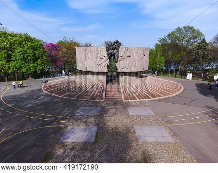 Aerial View Of The Pantheon Monument At The Sea Garden Of Burgas, Bulgaria At Springtime