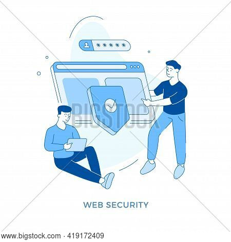 Linear Flat Web Security Concept Vector Illustration. Male Cartoon Character Advising To Keep Safe P