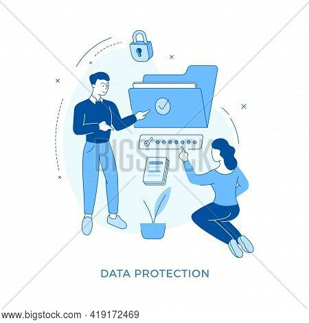 Linear Flat Data Protection Concept Vector Illustration. Male Cartoon Character Advising To Keep Saf