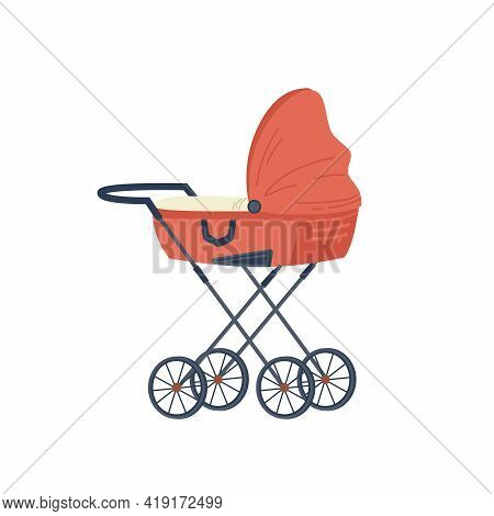 Red Stroller For Newborn Baby Isolated Flat Cartoon Icon. Pram With Handle And Wheels, Childhood And