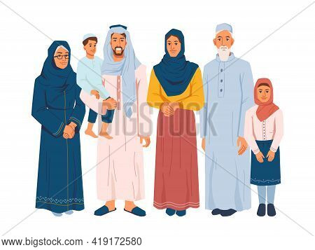 Muslim Family, Several Generations Isolated Arabian People In National Cloth. Parents And Grandparen