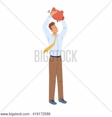 Man With No Money In Piggy Bank Isolated Flat Cartoon Character. Male Has Financial Troubles, Pennil